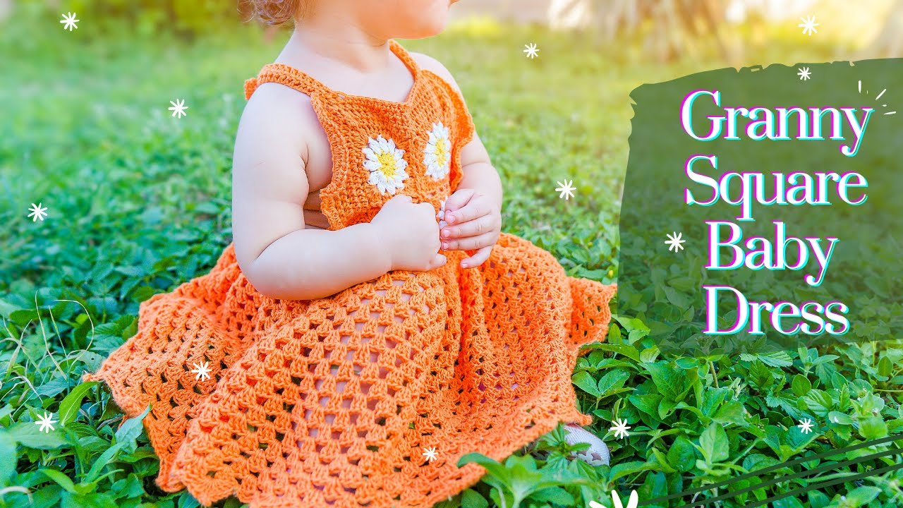CROCHET: GRANNY SQUARE BABY DRESS| BELLA DRESS FITS FOR 18-24 MONTHS OLD BABIES #crochetbabydress