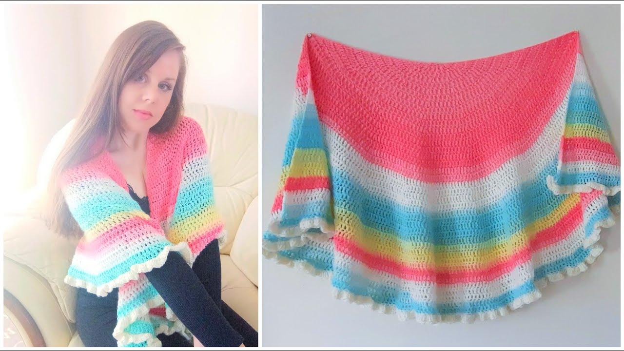 "CROCHET HALF CIRCLE ""POLINA"" SHAWL   Crochet Semi Circular Wrap (includes free written pattern)"