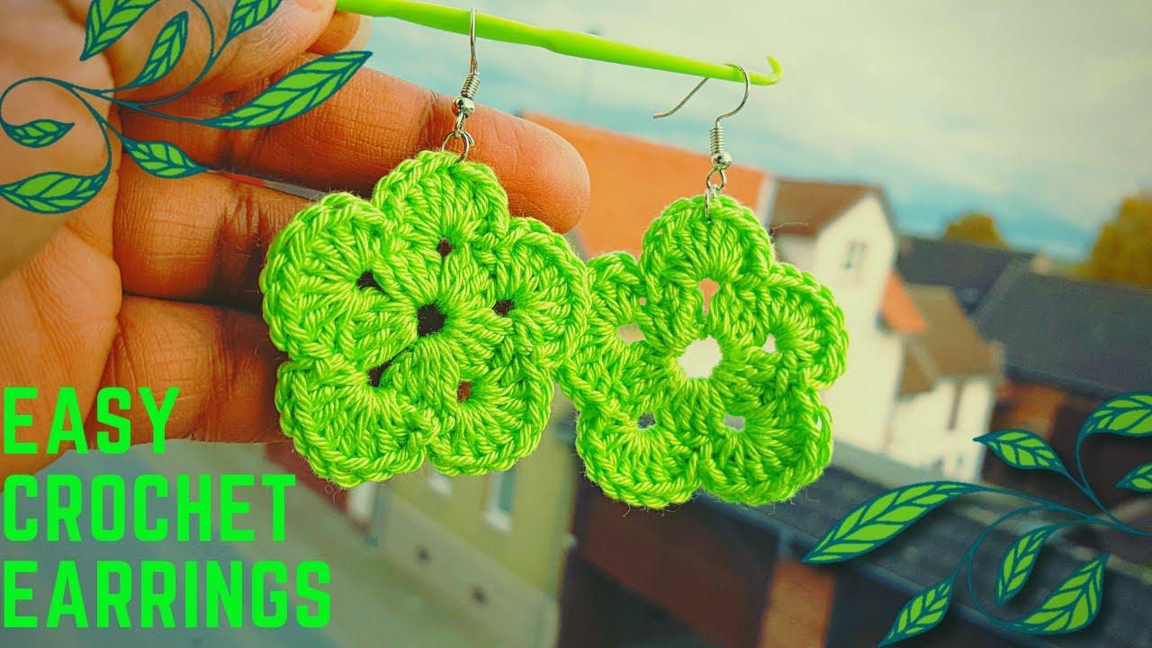 Comment tricoter des boucles d'oreilles - tuto facil crochet - crochet earrings