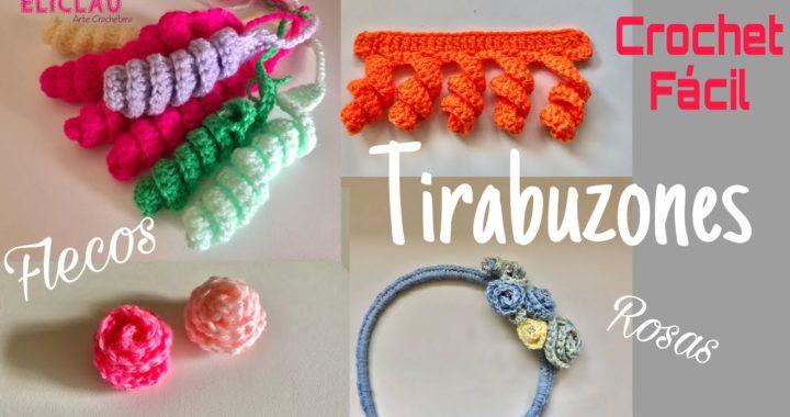 Como tejer TIRABUZONES a Crochet + ROSITAS + FLECOS | EliClau