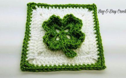 Crochet Clover Granny Square |  BAGODAY Crochet Tutorial 452