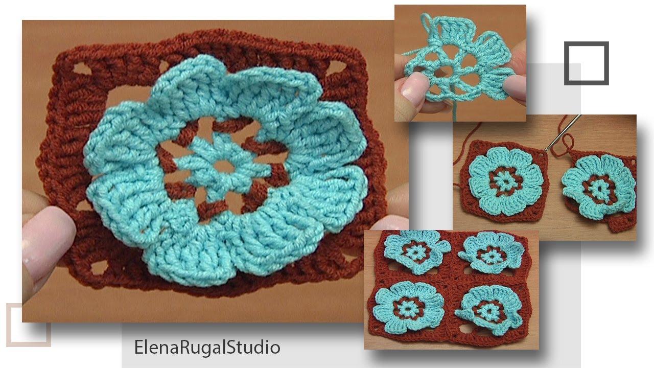 Crochet Flower Granny Square Motif- DIY Idea for COASTER