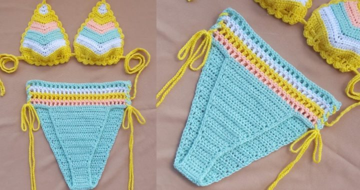Crochet High Waisted Bikini Bottom Tutorial / Cheeky cut.