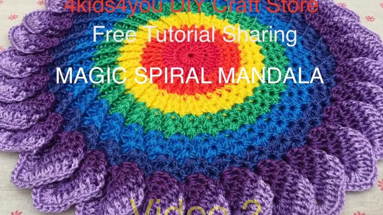 Crochet Magic Spiral Mandala Mat - Video 2 ( English Subtitle)