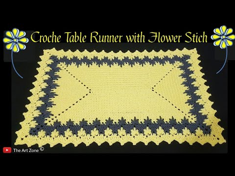 Crochet Rectangle Table Runner with Flower Stich | English Crochet Tutorial