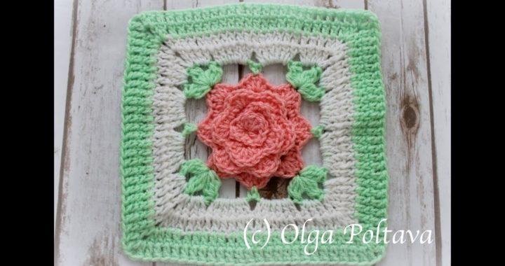 Crochet Rose Granny Square for Afghan, Make Rose Crochet Blanket, Crochet Video Tutorial