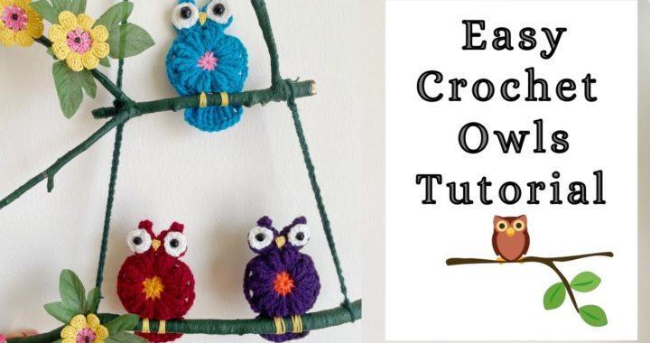 Crochet Small Owls Wall Hanging Tutorial | Crochet Owl Applique