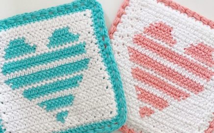Crochet Striped Heart Hot Pad (pot holder)