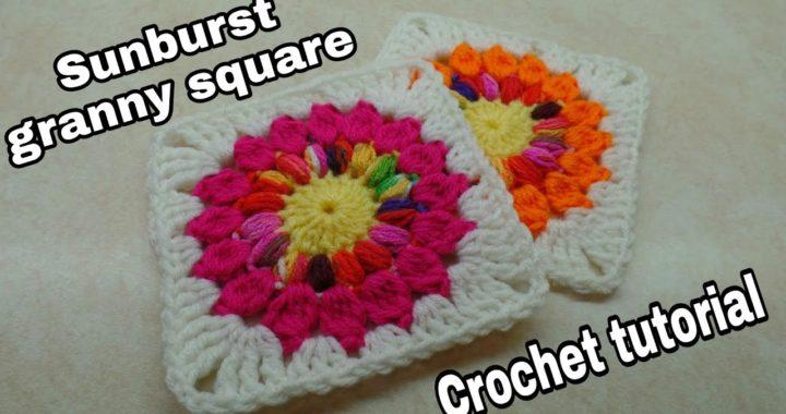 Crochet Sunburst Granny Square Tutorial | Easy Crochet Granny Square Bag O Day Crochet tutorial