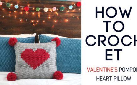 Crochet Valentine's Pompom Heart Pillow