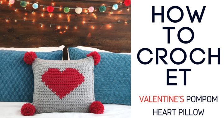 Crochet Valentine's Pompom Heart Pillow