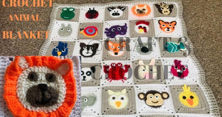 Crochet animal blanket/crochet baby blanket/crochet lion/Part:5