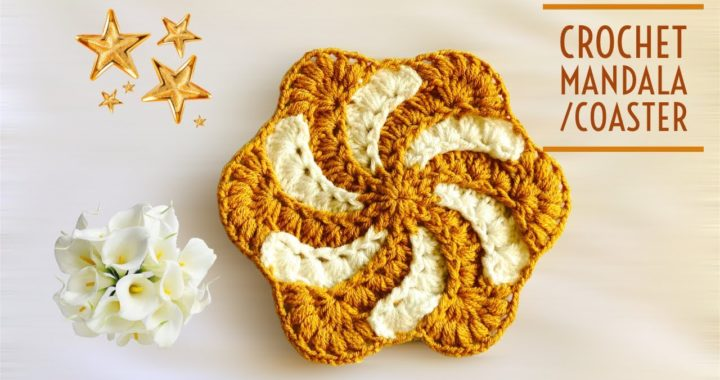 Crochet mandala   crochet coaster   crochet doily   crochet flower(with English subtitles)