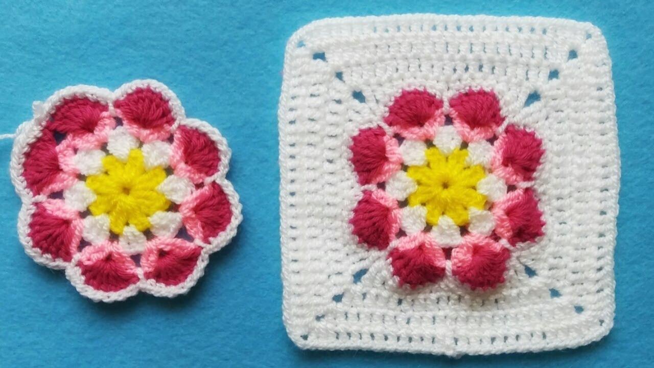 Cuadrado Tejido a Crochet (Tutorial Paso a Paso)Flor Africana.Para colchas/Cubrecama y más.