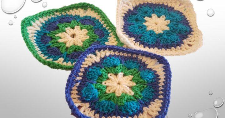 Cuadrado flor africana a ganchillo, granny square african flower crochet