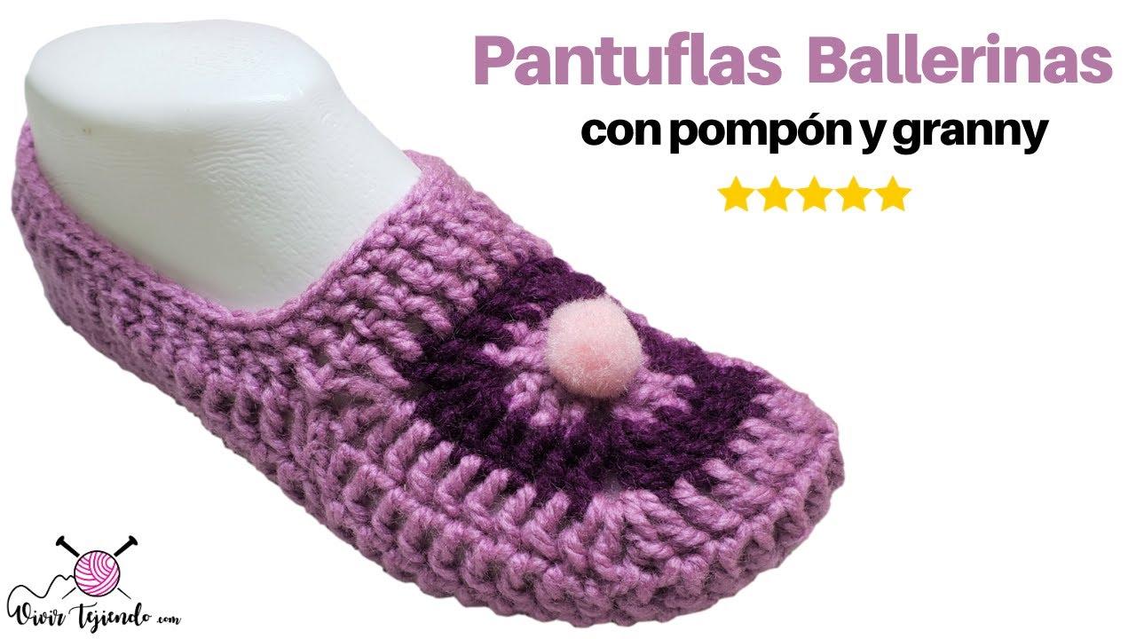 📚 Curso de tejidos a ganchillo ✔ Pantuflas Slipper a Crochet con Granny  y Pompón