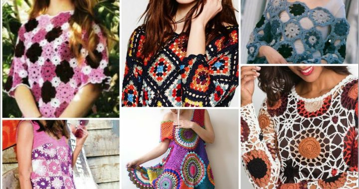 Cute crochet knitted multi colors granny sequare pattern fancy top blouse dress/Boho crochet dress