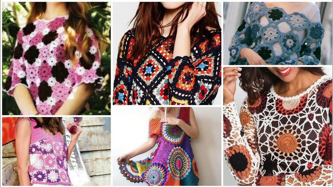 Cute crochet knitted multi colors granny sequare pattern fancy top blouse dress/Boho crochet dress