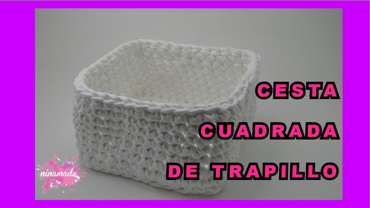 DIY. Cesta Cuadrada de Trapillo // Square Crochet Basket of Trapillo