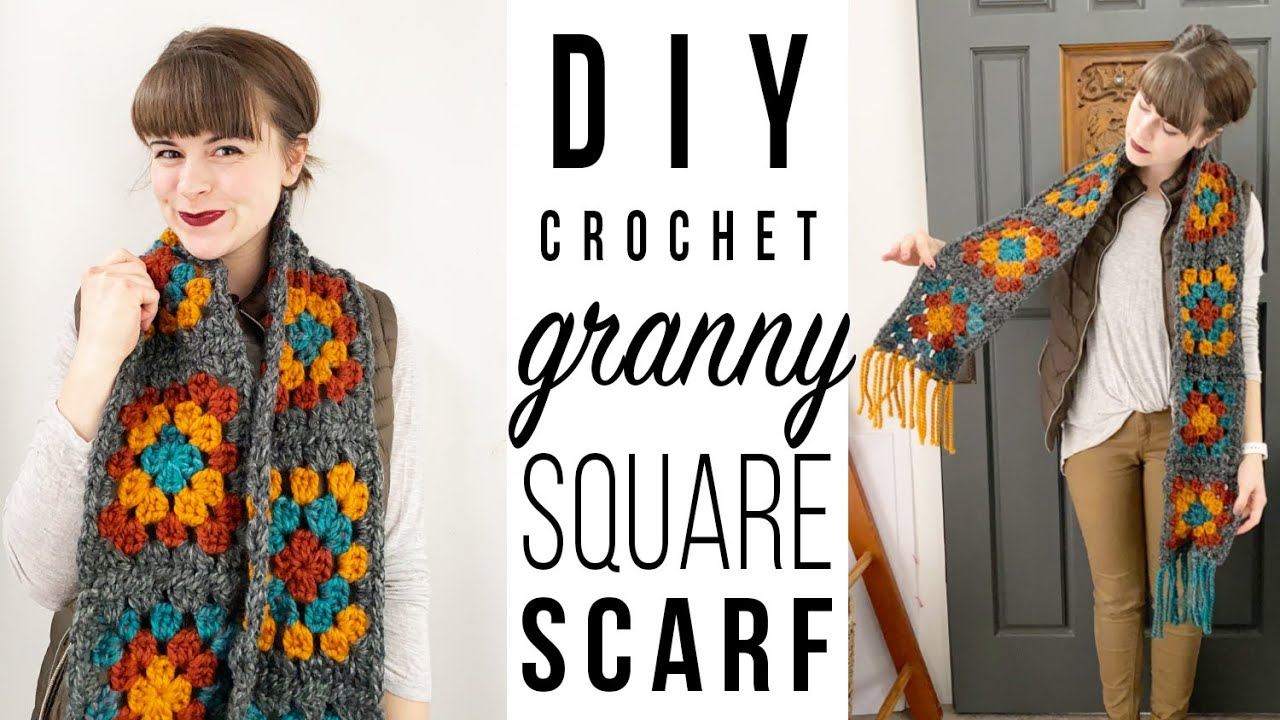 DIY Crochet Granny Square Scarf Tutorial by Morthunder