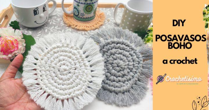 DIY como hacer Pasavasos Boho a crochet paso a paso
