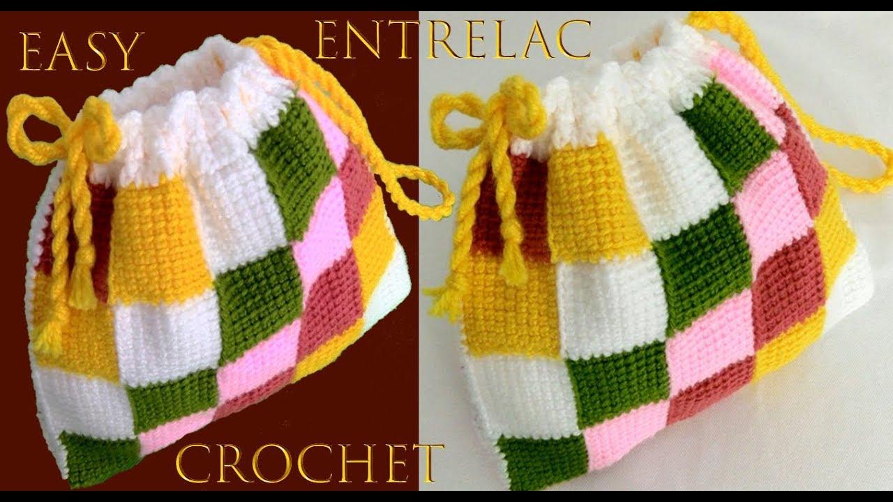 Entrelac muy fácil punto Tunecino a Crochet para bolsos y cobijitas tejido tallermanualperu