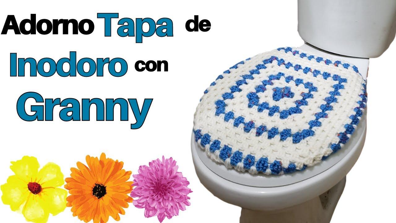 ✔ Forro para tapa de inodoro de baño a crochet bicolor Parte 1– tejidos online a crochet