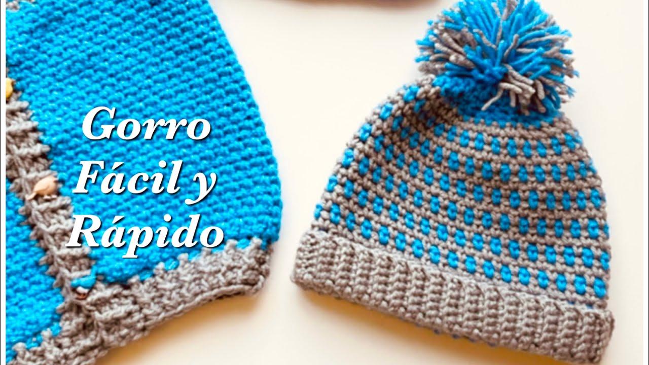 Gorro fácil y rápido de tejer a crochet o ganchillo para niños y niñas 12-18M y mas medidas