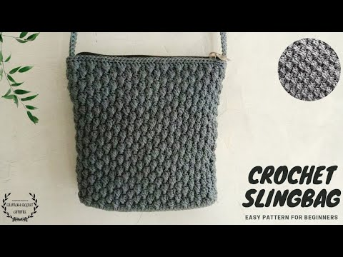 How To Crochet Slingbag For Beginners - Alpine Stitch Next Level (Substitle Available)