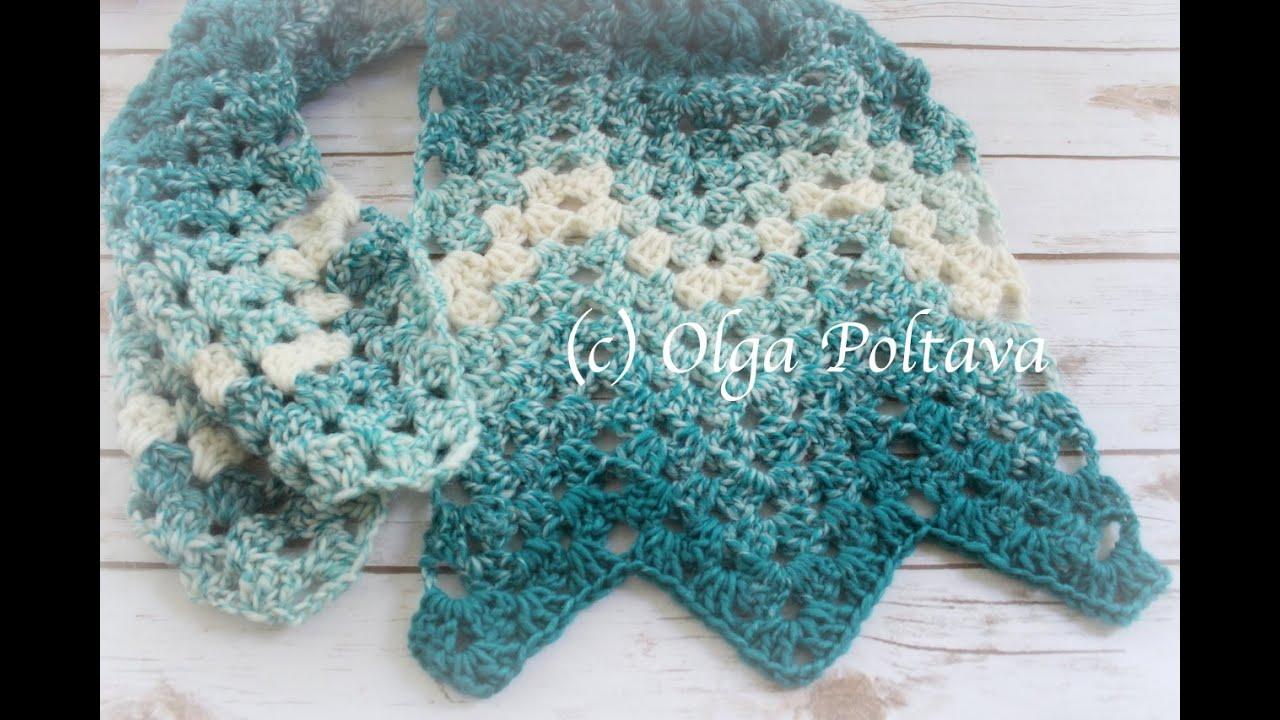 How to Crochet Easy Ripple Scarf, Granny Stitch Ripple, Crochet Video Tutorial