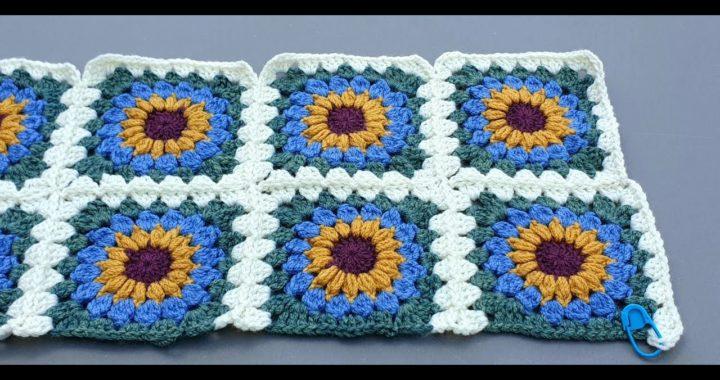 How to Crochet Join as You Go - Sunburst Granny Squares - Sunshine Bright Blanket - Part 2/4