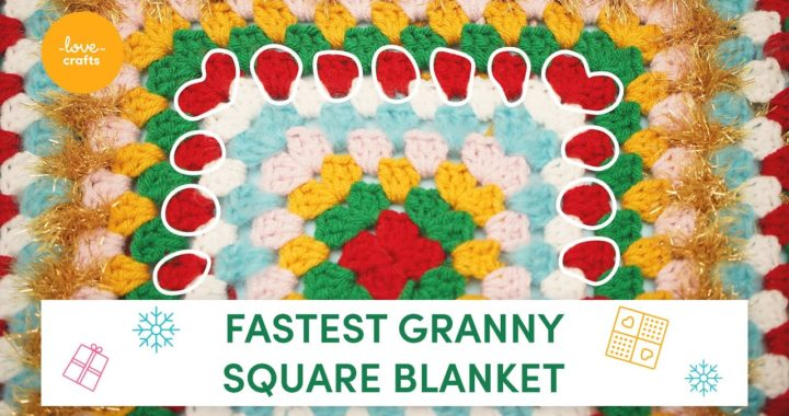How to crochet a festive granny square blanket | Beginner tutorial