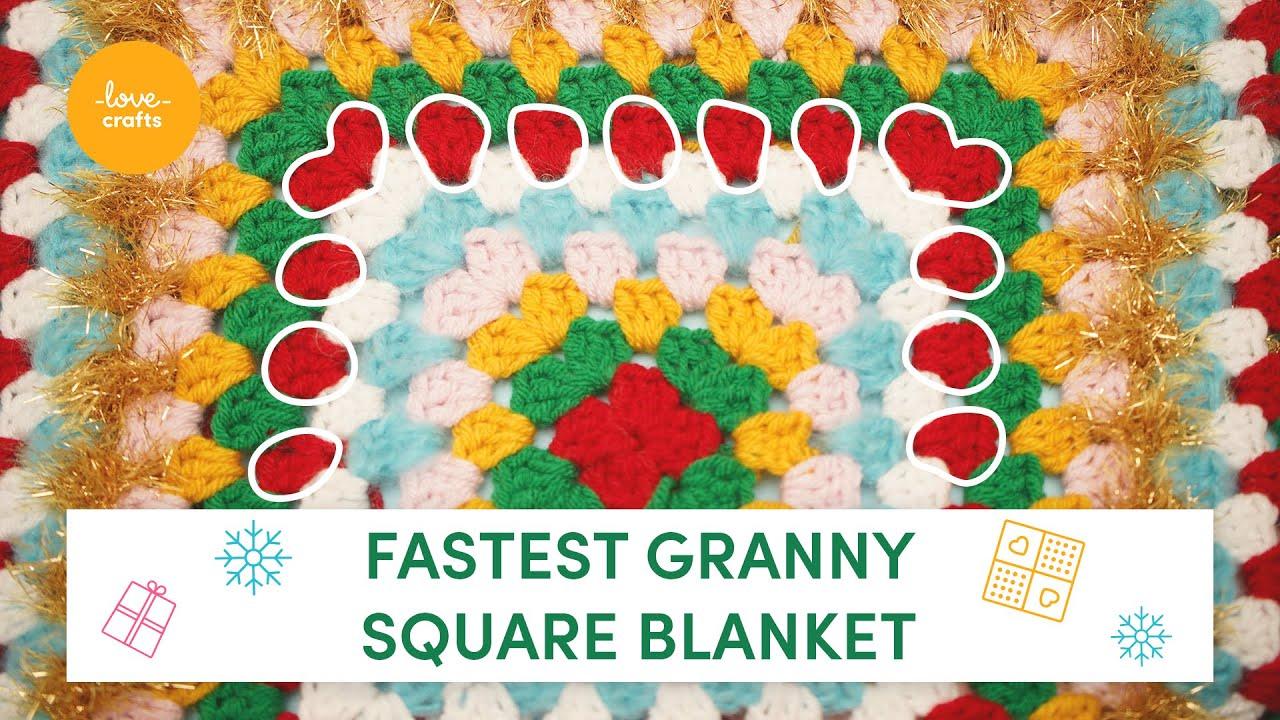 How to crochet a festive granny square blanket | Beginner tutorial