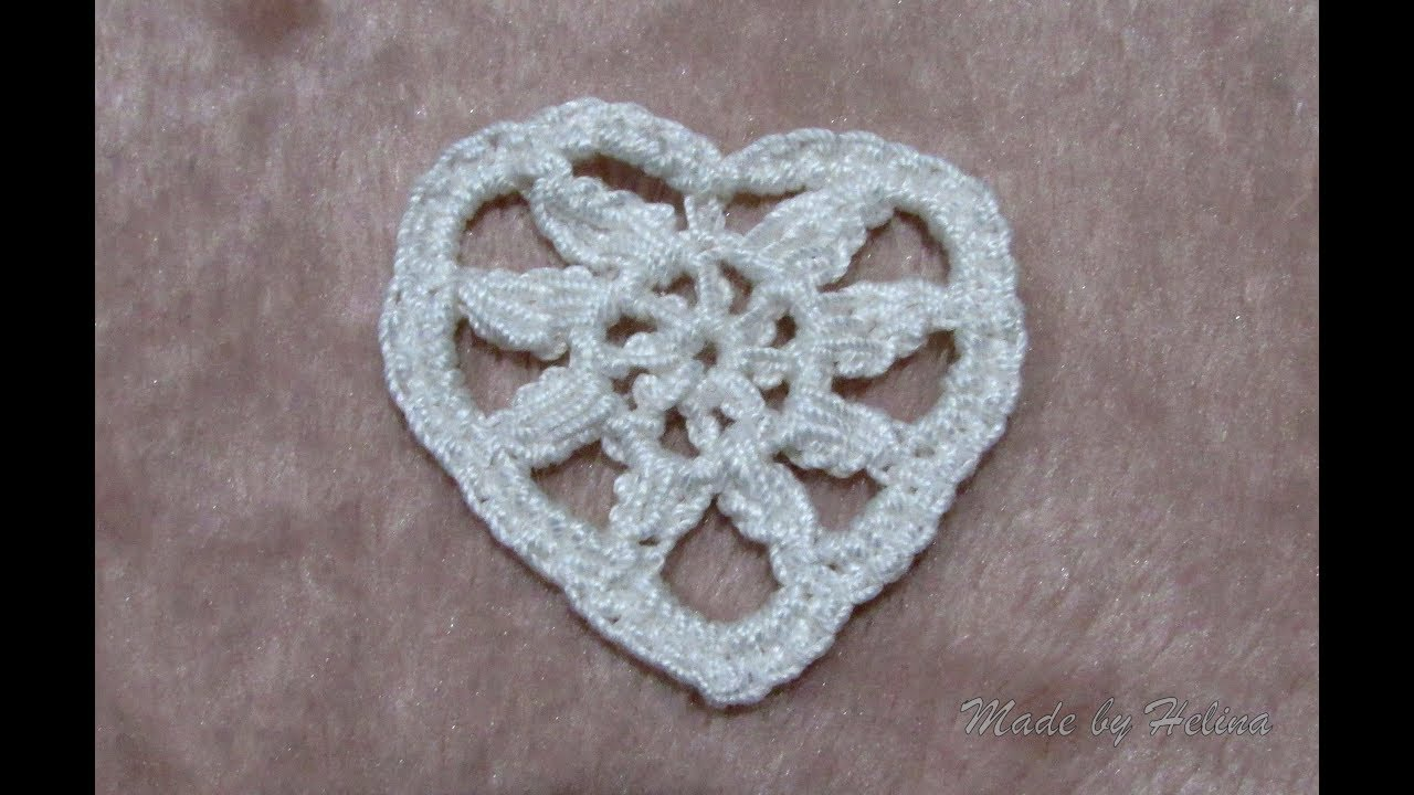 How to crochet this heart-shaped motif? (tutorial video)