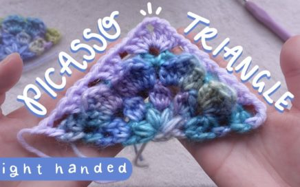 Ice Yarns 'Picasso' Flower Crochet Triangle/ Half Granny Square Tutorial (Right Handed)