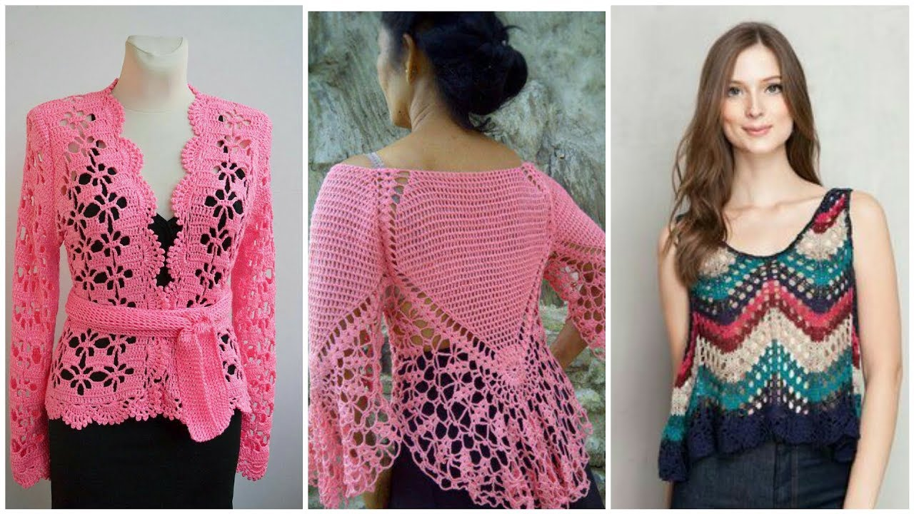 Latest stylish & Beautiful crochet knitted granny square style patchwork  top blouse for ladies