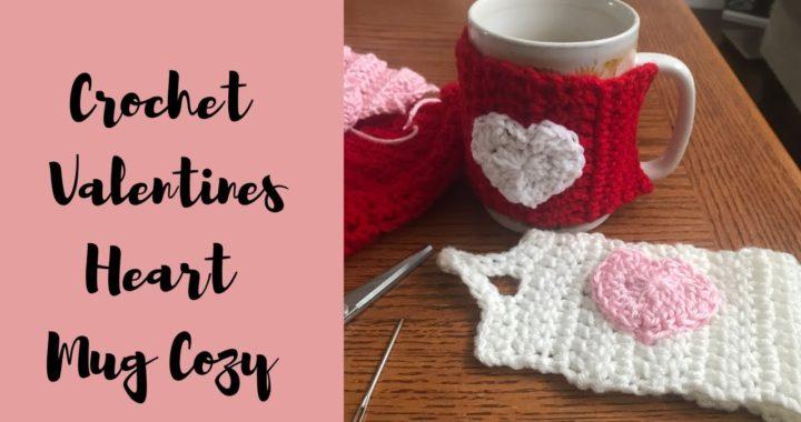 Left handed crochet tutorial. How to crochet a Valentine's heart mug cozy tutorial