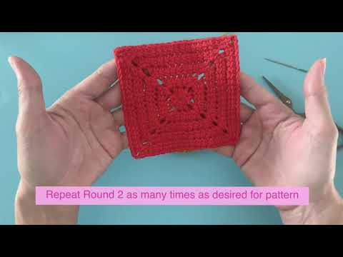 Little love linked double crochet solid granny square tutorial