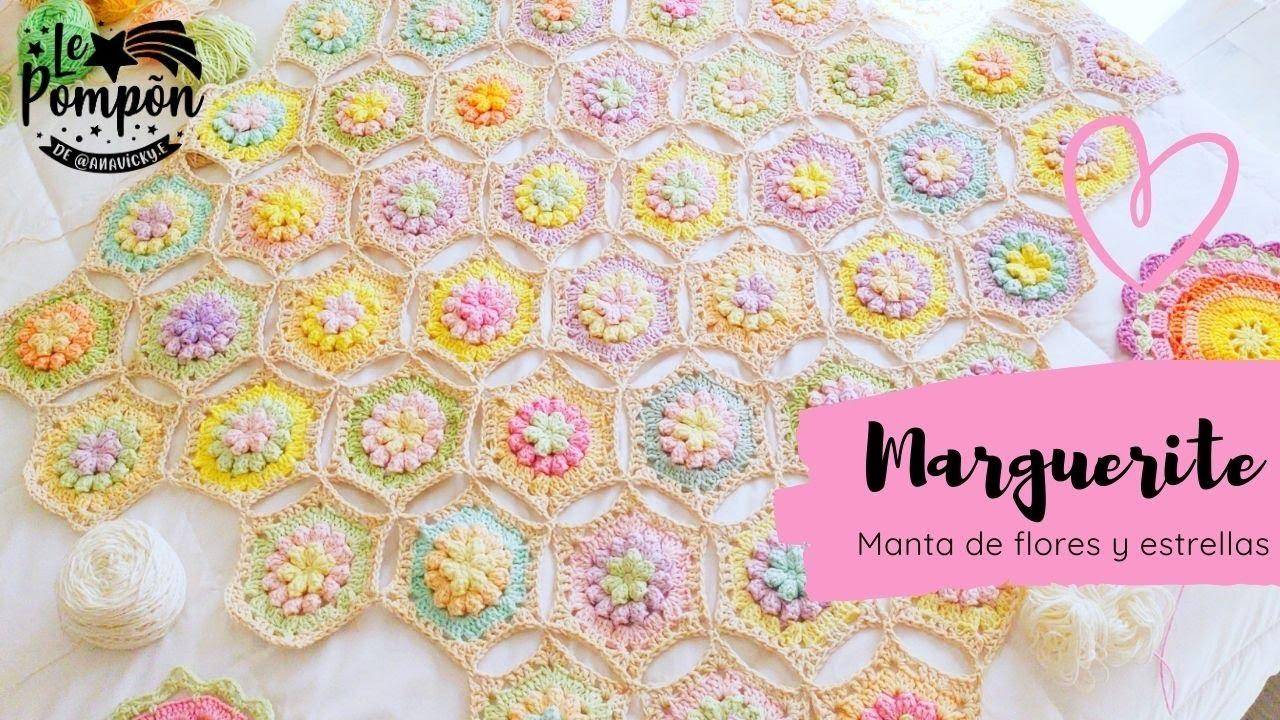 MANTA MARGUERITE PARTE 1 - Manta súper fácil en crochet - hexágonos join as you go