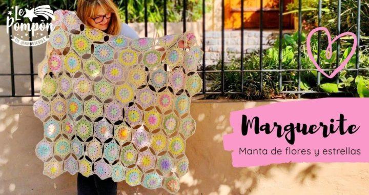 MANTA MARGUERITE parte 2 - Manta súper fácil en crochet - hexágonos join as you go