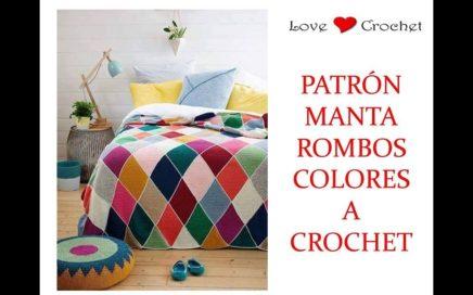 MANTA de rombos a crochet patrón gratis
