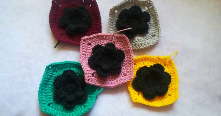 Making granny square from 6 petal crochet flower/4 cornered grany square from 6 petal crochet flower