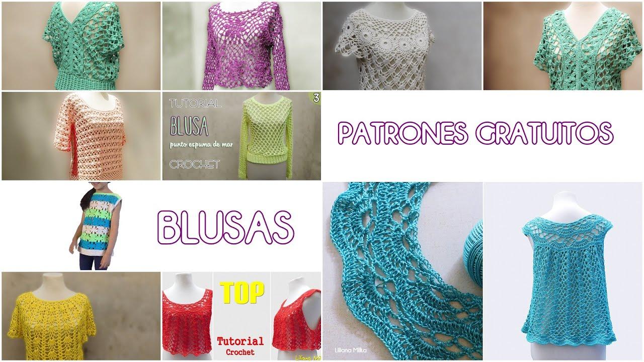 Más de 15 Patrones Gratuitos y tutoriales de BLUSAS tejidas  crochet, ganchillo. Crochet paso a paso