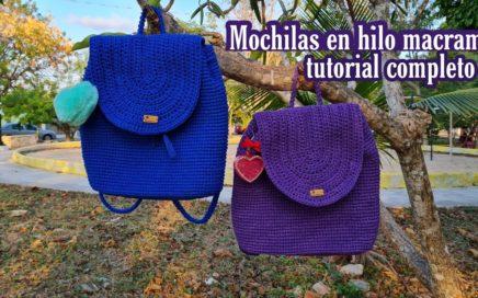 Mochila a crochet en hilo macrame | Aprende a tejer una mochila | Macrame backpack