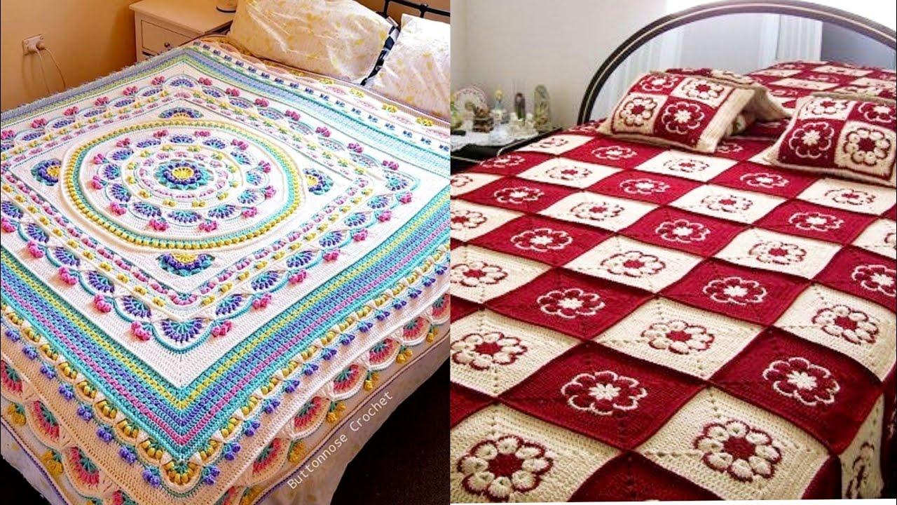 Most Attractive Crochet Fancy Cutout Lace Bedsheet Designs Collection//Crochet Designs For Bedsheet