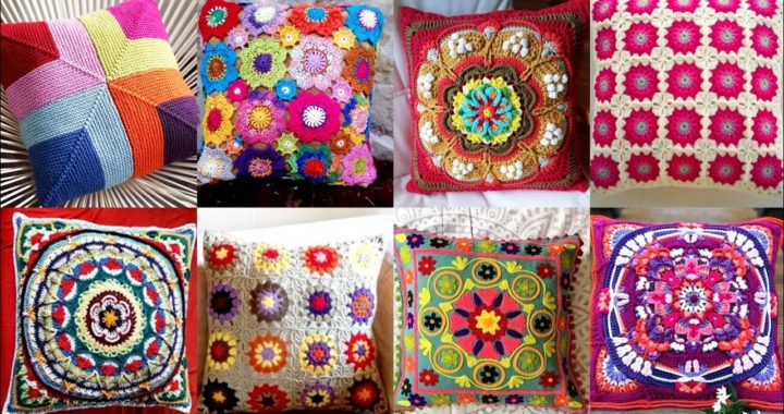 Most Beautiful And Stunning Crochet Granny Square Pattern  Multi Color Cushion Cover Designs Ideas
