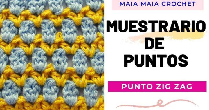PUNTO ZIG ZAG a crochet / muestrario de puntos / tutorial paso a paso