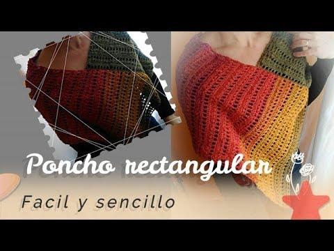 Poncho facil en crochet rectangular | Poncho en ganchillo facil rectangular