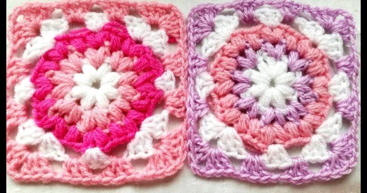 Puff stitch granny square easy crochet tutorial