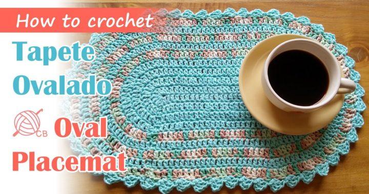[SUB ENG] Easy Crochet Oval Placemat - Table runner - Tapete Ovalado Fácil - Carpeta Ovalada